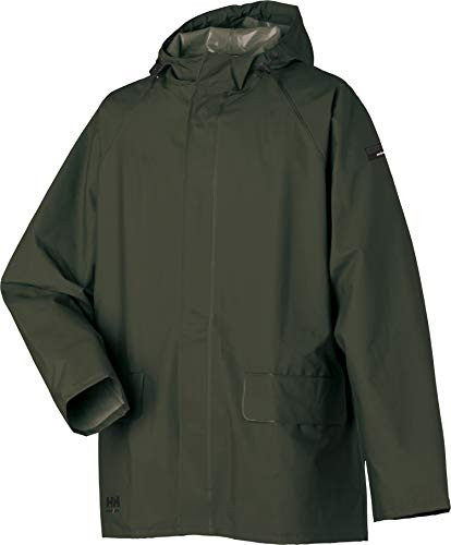 Helly Hansen Mandal Jacket 70129 - Giacca impermeabile in PVC, 100% impermeabile, Uomo Donna, 70129, Verde militare, XS