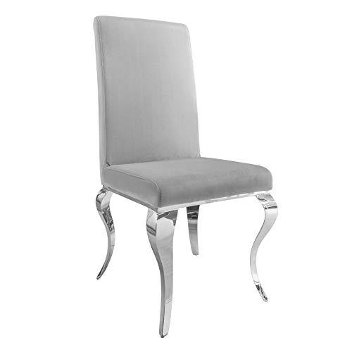 Invicta Interior Stylischer Design Stuhl MODERN BAROCK grau Stuhlbeine aus Edelstahl Samtoptik Lehnstuhl Esszimmerstuhl