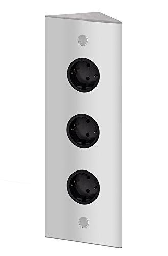 THEBO 3-fach Energie-Ecksäule ST 3007/320/3 in Aluminium/Ecksteckdosen/Edelstahl-Steckdosenleiste/Steckdosen