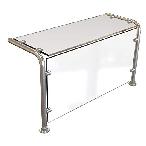 ADM Sneezeguard | EP-11 | Full Service Sneeze Guard | Pass Over Sneeze Shield | Buffet Food Guard | Stainless Steel | Includes Posts, Top, and Face Glass | (32')