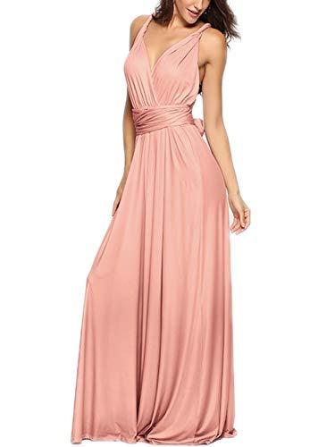 PERSUN Women's Convertible Multi Way Wrap Maxi Dress Long Party Grecian Dresses Baby Pink