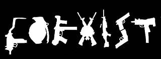 Coexist Guns Funny Decal Vinyl Sticker Cars Trucks Vans Walls Laptop  White  7.5 x 2.5 in LLI108