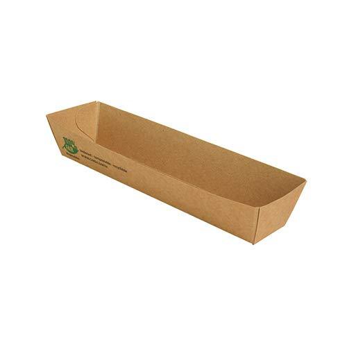 Papstar 560 - Bandeja para tentempiés, cartón, 3 x 3,3 x 18,5 cm, color marrón, 100% justo