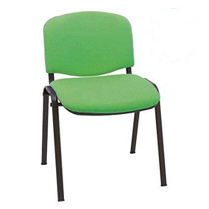 4x Silla de colectividades tapizada, ideal para academias, autoescuelas. Apilables. Color verde