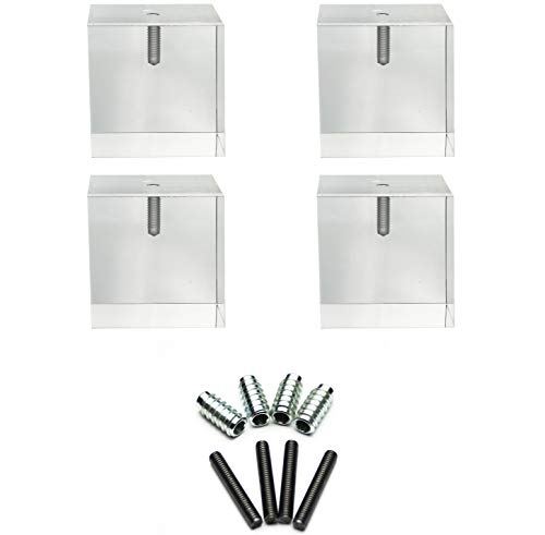 Acrylic Cube Furniture Feet- 3'H x 3'W- Set of 4- Perfect for Sofas, Chairs, Cabinets, Dressers, Sofas, and More!