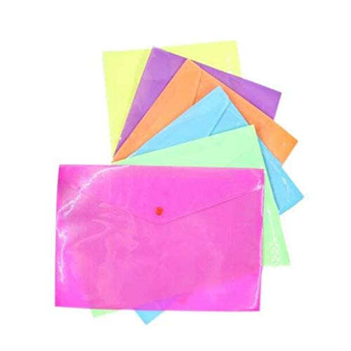 File Folder Twill Button Bag Snap Bag A4 Bestand Tas Papier Opbergtas Office Stationery Ritszak 6 Kleuren om uit te kiezen, Afmetingen: 335 × 233 (mm) 1 Pakket 6 Stuks Bestand Rekken