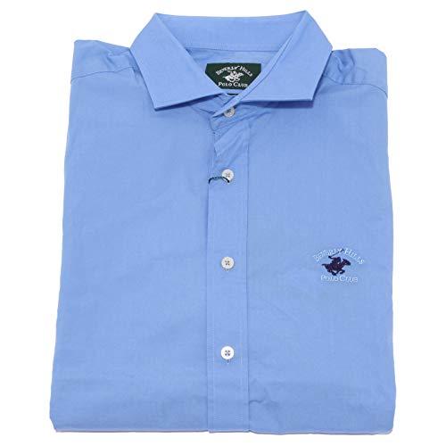 Beverly Hills Polo Club 7621K Camicia Uomo Light Blue Shirt Cotton Man [L]