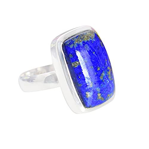 Anillo de plata de ley 925 con piedras preciosas lapislázuli para mujer FSJ-5992, Piedra, Lapis Lazuli,