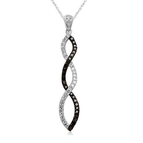Jewelili 10K White Gold Diamond Twist Pendant Necklace (1/4 CTTW), 18