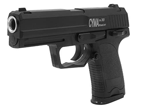 Softair Gun Airsoft Pistole + Munition | Cadofe ZM20- Schwarz Profi Vollmetall | 16cm. Inkl. Magazin & unter 0,5 Joule (ab 14 Jahre)
