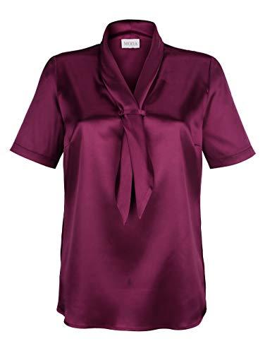 MONA Bluse aus elastischem Satin Brombeere