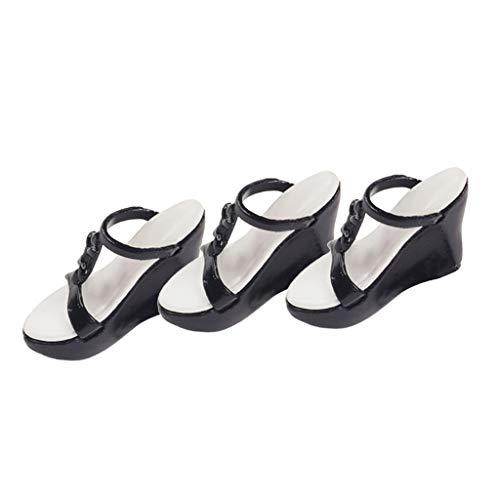 Harilla 3 Pares de Zapatillas Blancas Y Negras 1: 6 para de Acción Femenina BBI DML TTL