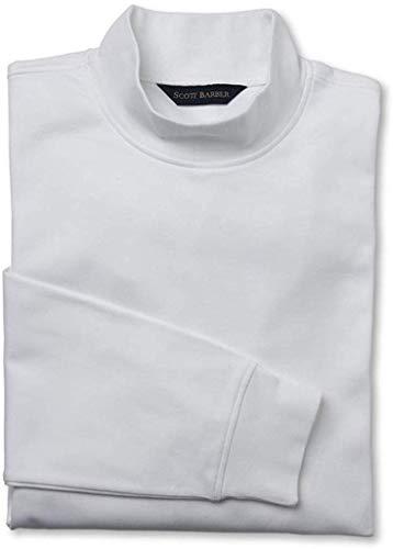 Scott Barber Men's Pima Cotton Interlock Mock Turtleneck, White, X-Large