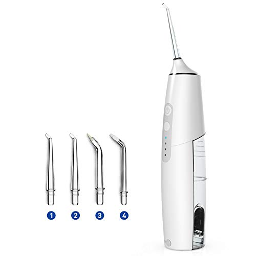 Cordless Water Flosser Teeth Cleaner,Rechargeable Portable Dental Oral Irrigator for Travel and Home, IPX7 Waterproof, 3 Adjustable Pressure Settings with 4 Jet Tips