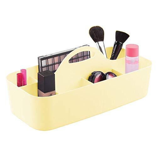mDesign - Badkamerorganizer - make-up organizer/douchemand - voor paletten, spuitbussen, zeep en accessoires - draagbaar/met handvat/11 compartimenten - lichtgeel