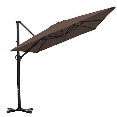 Abba Patio Rectangular Offset Cantilever Umbrella Outdoor Patio Hanging Umbrella with Cross Base, 8 x 10- Feet, Cocoa