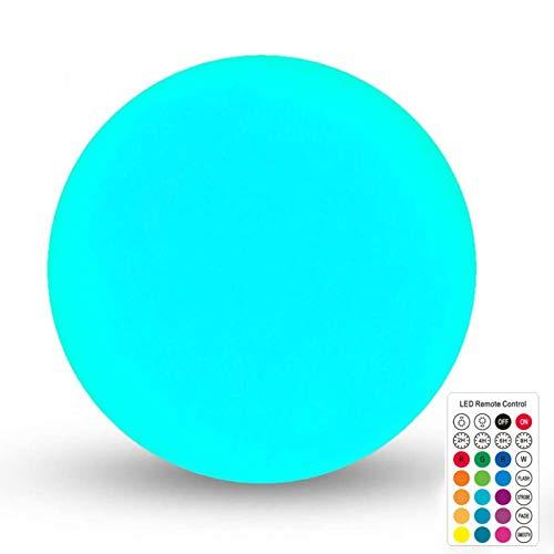 Lámpara solar para exterior, bolas de 35,5 cm de diámetro y 12 colores ajustables, lámpara LED con mando a distancia, resistente al agua IP67 (1 unidad)