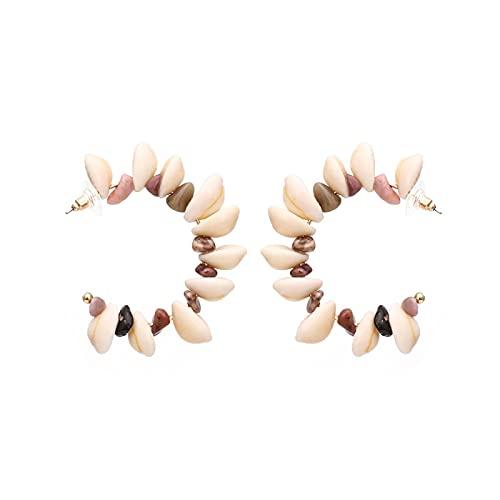 Pendientes geométricos versátiles de concha en forma de C pendientes de grava retro