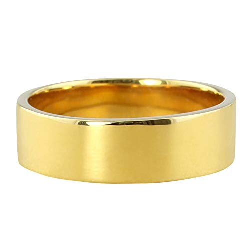 [ジュエリーアイ] 平打ち 指輪 6ミリ幅 リング メンズ シンプル フラット 結婚指輪 マリッジリング ブライダル 単品 日本製 イエローゴールドK10 K10YG 19号