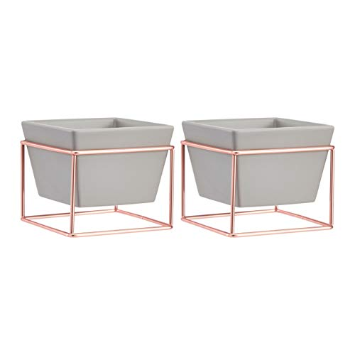 Amazon Basics Pflanztopf für den Tisch, quadratisch, Grau / Kupferfarben, 2 Stück