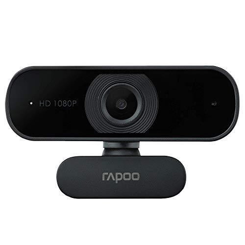 Rapoo XW180 Full HD Webcam 1080p, 80° Sichtfeld, Fixfokus, Rauschunterdrückung, USB-Anschluss, für Skype, FaceTime, Hangouts, Zoom, usw, PC/Mac/ChromeOS/Android, schwarz