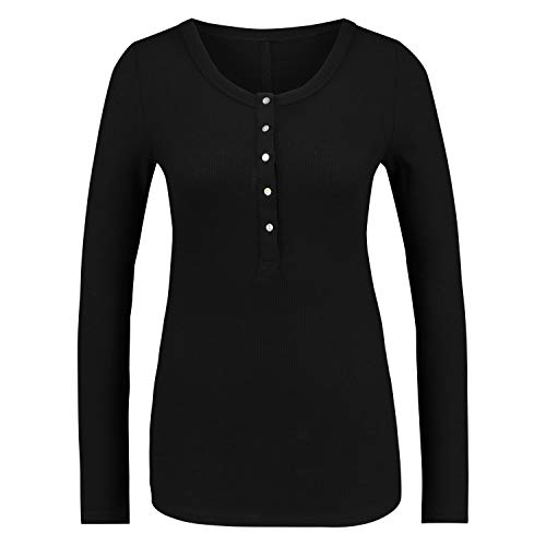Damen Langärmeliges Pyjama-Shirt mit Waffelknöpfen Schwarz M