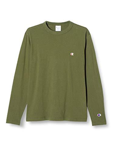 [チャンピオン] ロングTシャツ 綿100% ワンポイントロゴ ロングスリーブTシャツ ベーシックメンズ C3-P401 ダークグリーン M