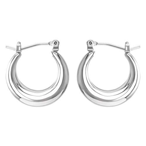 Soimiss - Pendientes de aro chapado en Grojo, pendientes de aro abierto, minimalista, hipoalergénicos, joyas para mujer plateado
