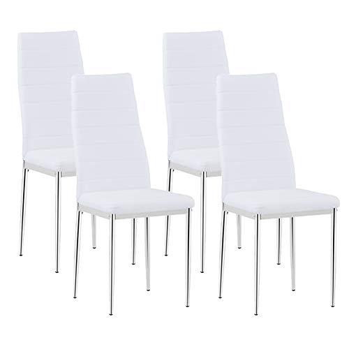 GOLDFAN 4er Set Esszimmerstuhl aus Leder Moderner Küchenstuhl Bürostuhl Wohnzimmerstuhl Gepolsterter Stuhl mit Metallbeinen, Weiß