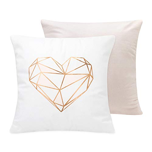SUMGAR Rose Gold Throw Pillow Cases Pink Heart Geometric Pattern Square Pillowcases Modern Fashion Decorative Cushion Covers for Living Room Sofa Bed Car Floor with Invisible Zipper 45x45cm Set of 2