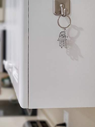 Bravo Team - LUCKY EYE MAGIC – Quartz Crystal Keychain Hamsa Charm, Clear Quartz Crystal Stone for higher spiritual…