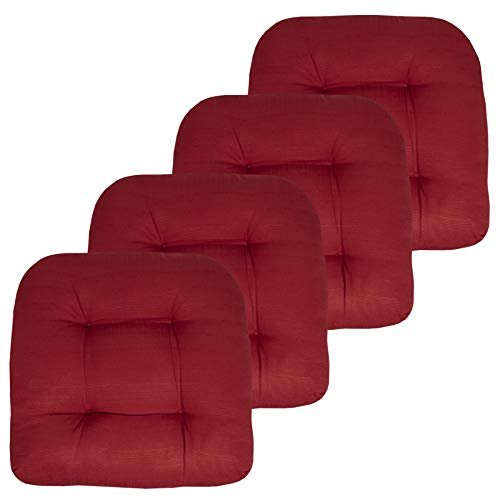 Sweet Home Collection Patio Cushions Outdoor Chair Pads Premium Comfortable Thick Fiber Fill Tufted 19' x 19' Seat Cover, 4 Pack, Red