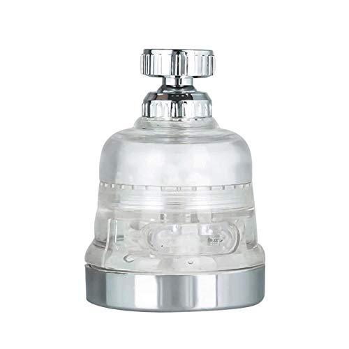 POHOVE Grifo de cocina con cabezal giratorio de 360 grados, filtro de fijación para grifo de cocina, fácil instalación, difusor de agua y purificador de agua (plata)