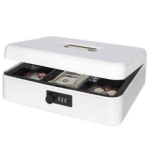 """Safe Metal Cash Box with Combination Lock, Decaller Large Lock Storage Money Box with Money Tray, White, 11 4/5"""" x 9 2/5"""" x 3 1/2"""", QH3001L"""