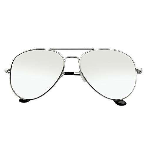Emblem Eyewear - Aviador Gafas De Sol Vintage Espejo Lente Nuevo Hombres Mujeres Piloto Retro Marco De Moda (Polarizada | Plata)