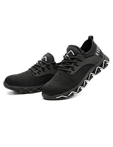 Letuwj Zapatillas deportivas unisex ligeras de seguridad industrial con puntera de acero, cómodas, sin cordones, color Negro, talla 43 1/3 EU