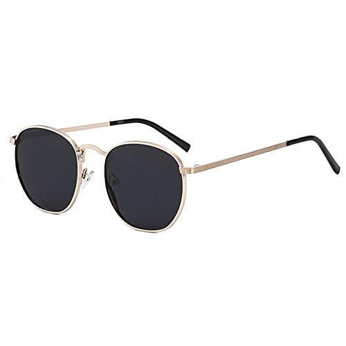 WQZYY&ASDCD Gafas de Sol Gafas De Sol Polarizadas Redondas Vintage para Hombres Gafas De Conducción Uv400 Gafas Polarizadas Steampunk Golden Male Eyewear-Gold_Black