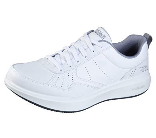 Skechers Gowalk - Tenis para caminar con cordones de piel para hombre, blanco (Blanco/Gris), 40 EU