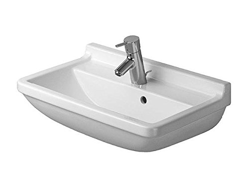 Duravit lavabo Starck 3 Compact ancho 60 cm 1 Aliviadero, blanco WonderGliss 3016000001, 3016000001