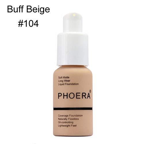 Lai-LYQღ Fond de Teint Liquide Imperméable Mat Couverture Complète Maquillage Correcteur Huile Correcteur, Plastique, 104-buff Beige