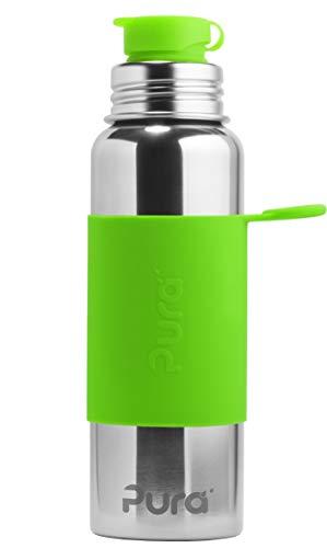Pura Sport RVS Fles met Siliconen Sport Top, 28 ounce/850 milliliter, Niet giftig gecertificeerd, Groen