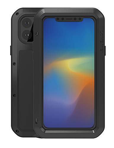 Tutto il Corpo Custodia per iPhone 11 Pro Max(6,5-pollice), Love Mei All'aperto Robusto Ibrido Alluminio Metallo Antiurto Antipolvere Cover con vetro temperato, Supporta la Ricarica Wireless (Nero)
