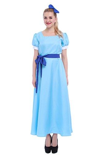 ROLECOS Womens Princess Dress Light Blue Maxi Dresses Halloween Cosplay Costume Blue Belt 3XL