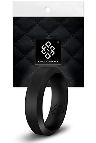 Knot Theory Black Bevel Comfort Fit Silicone Ring for Men Husband 6mm Size 12