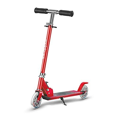 PTHZ Scooter de 2 Ruedas, Scooter de pie Plegable con 2 Ruedas de luz LED, 3 Altura Ajustable y Sistema de liberación Plegable de un Solo botón, Adecuado para niños de 3 a 10 años,Rojo