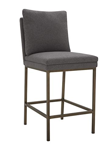Amazon Brand – Rivet Lundberg Contemporary Upholstered Counter-Height Barstool with Brass Legs, 40.6