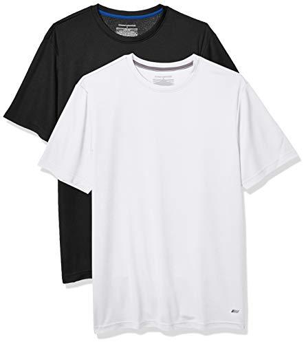 Amazon Essentials Men's 2-Pack Performance Tech T-Shirt, Black/White, Large