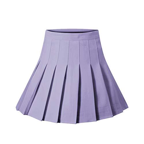 Girls Women High Waisted Plain Pleated Skirt Skater Tennis School Uniforms A-line Mini Skirt Lining Shorts (Light Purple, X-Large)
