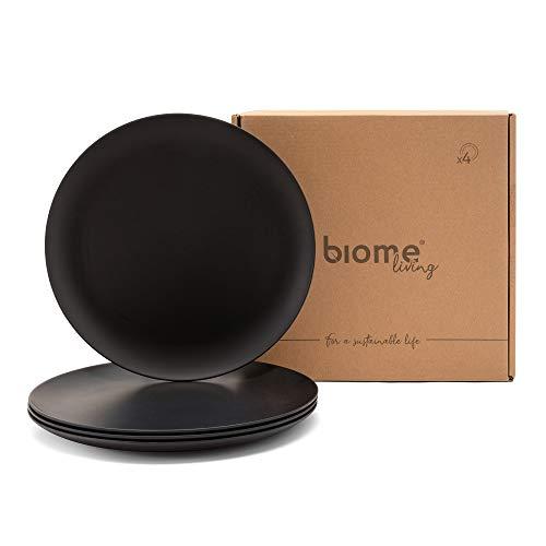 Biome Living Set de 4 platos lisos de bambú, sin BPA - Platos de bambú elegantes y ecológicos - Vajilla de bambú para adultos y niños cm. 25x25x1,8 h - Set de 4 piezas en color gris oscuro