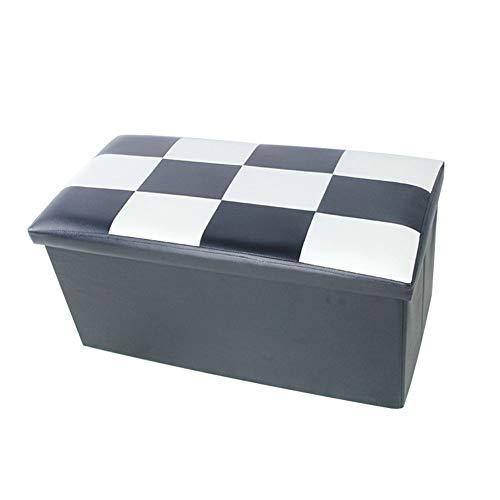 Yao rack Boîte de Rangement rectangulaire PU Pliant Ottoman Repose-Pieds imperméable à l'eau Peut Sit Personnes canapé Banc 76 × 38 × 38Cm,A